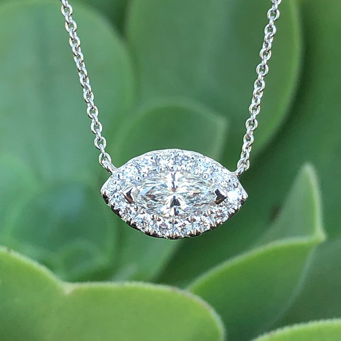 MARQUISE DIAMOND HALO PENDANT NECKLACE