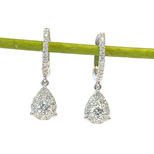 0.82CT. WHITE GOLD DIAMOND DANGLE EARRINGS