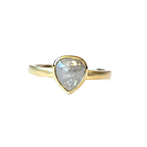 "0.96CT.  ""GALAXY"" ROSE CUT PEAR SHAPE DIAMOND RING"