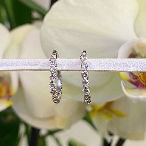 0.52CTTW. FLOATING DIAMOND HOOP EARRINGS IN 14KTWG