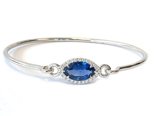 2.53CT. GIA BLUE SAPPHIRE & DIAMOND HALO BANGLE BRACELET