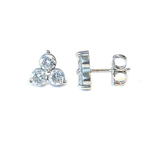 1.24CT. THREE STONE DIAMOND STUD EARRINGS IN WHITE GOLD