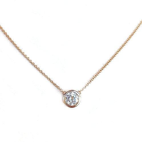 0.34CT. ROUND DIAMOND BEZEL PENDANT NECKLACE