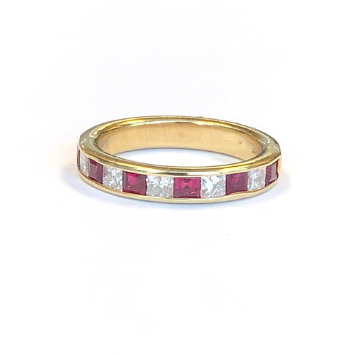 RUBY & DIAMOND YELLOW GOLD BAND