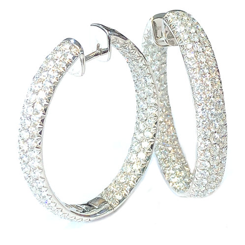 5.87CT. PAVE DIAMOND INSIDE-OUT HOOP EARRINGS 18KT