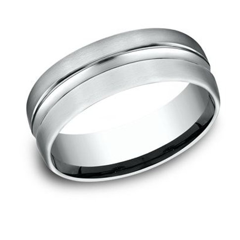 Benchmark® 7.5MM SATIN WITH POLISHED CENTER CUT MEN'S BAND SIZE 9.5