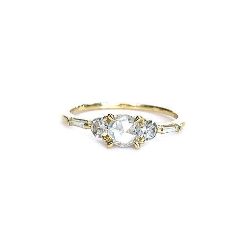 18KTYG ROSE CUT DIAMOND ENGAGEMENT RING 0.58CTTW.