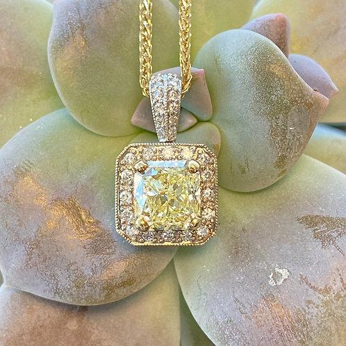 1.75CT. FANCY LIGHT YELLOW DIAMOND HALO PENDANT NECKLACE