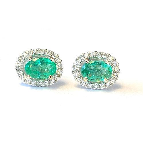 GREEN EMERALD & DIAMOND HALO STUD EARRINGS