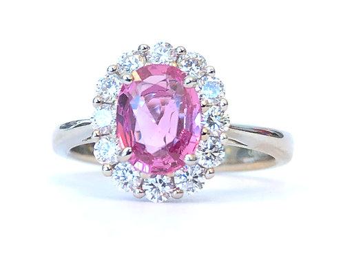 CLASSIC DIAMOND HALO PINK SAPPHIRE RING