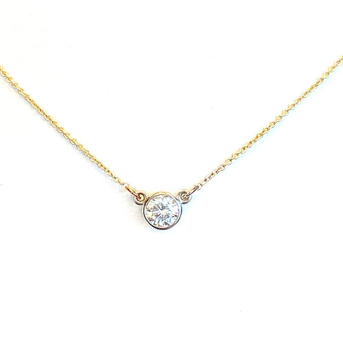 0.33CT. TWO-TONE GOLD BEZEL DIAMOND NECKLACE