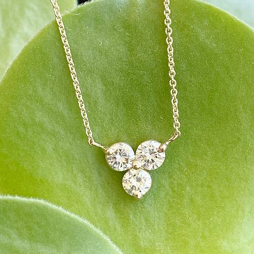 14KTYG THREE STONE DIAMOND PENDANT NECKLACE