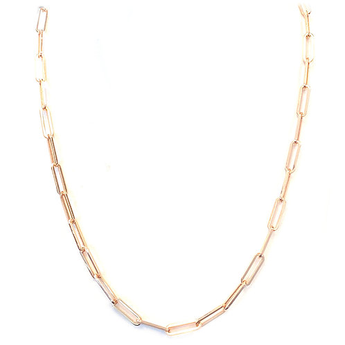 """14KT ROSE GOLD PAPERCLIP 20"""" CHAIN NECKLACE"""