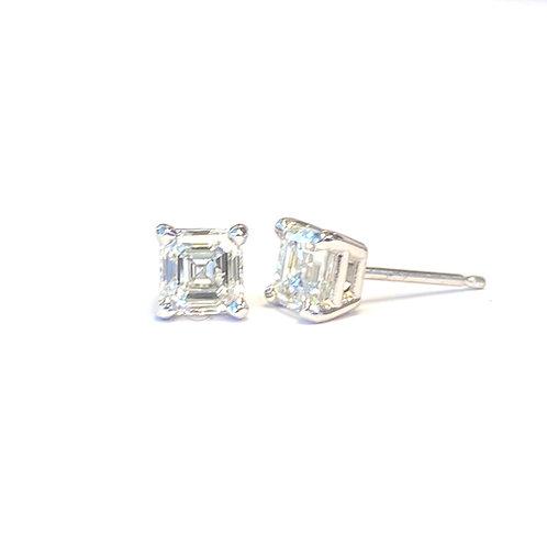 1.08CTTW. GIA F VVS2/VS1 ASSCHER DIAMOND STUD EARRINGS