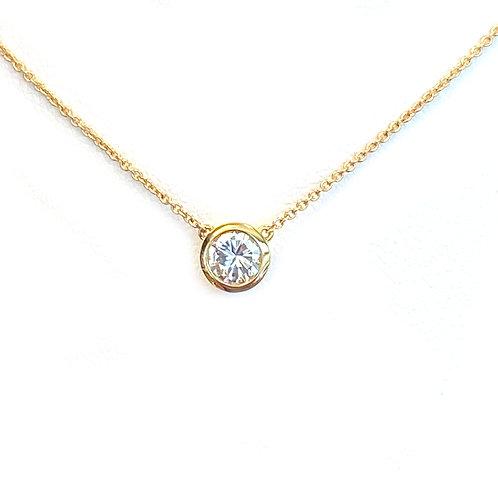 0.39CT. CLASSIC BEZEL DIAMOND PENDANT NECKLACE