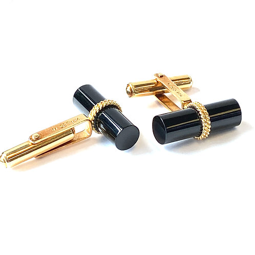 BLACK ONYX & YELLOW GOLD CUFF LINKS