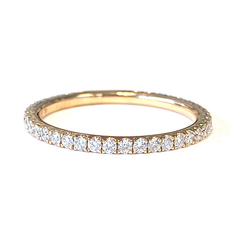 0.46CTTW. PAVE, ROSE GOLD DIAMOND ETERNITY BAND WITH SIZING BAR