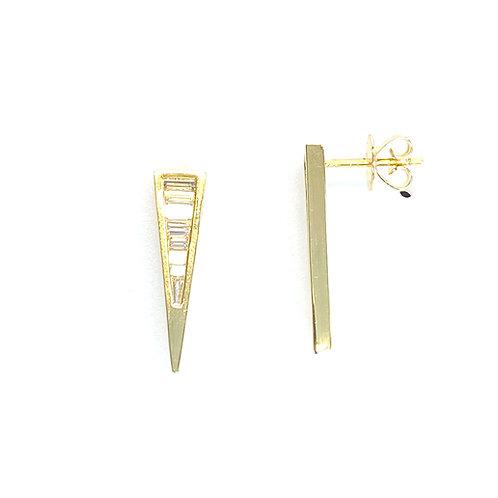 18KTYG BEZEL DIAMOND DAGGER STUD EARRINGS