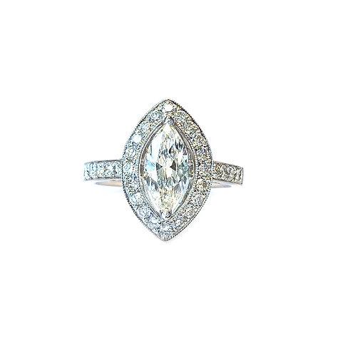 1.44CTTW. MARQUISE DIAMOND HALO ENGAGEMENT RING 18KTWG