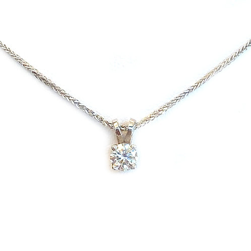 0.36CT. ROUND DIAMOND SOLITAIRE PENDANT IN 14KTWG