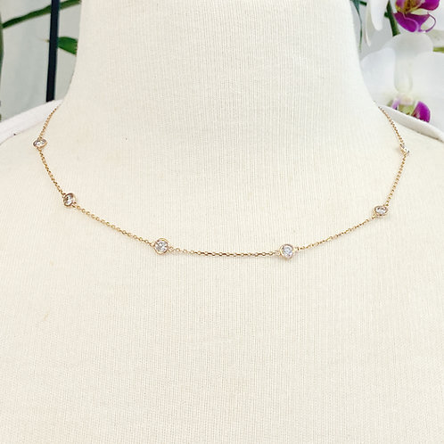 2.35CT. BEZEL STATIONED DIAMOND NECKLACE IN ROSE GOLD