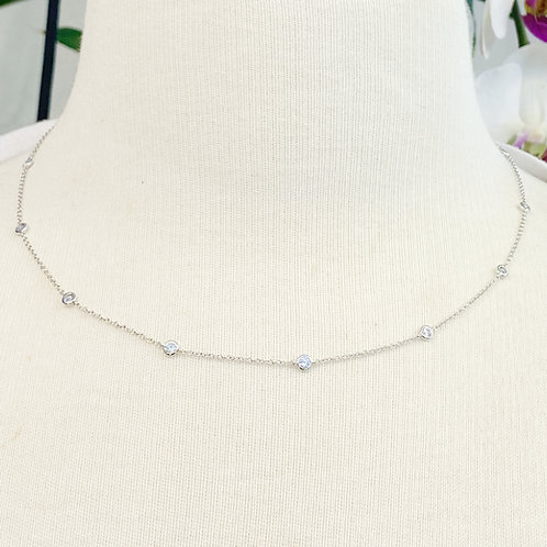 0.74CT. BEZEL STATIONED DIAMOND NECKLACE IN 18KTWG