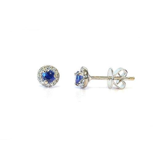 BLUE SAPPHIRE & DIAMOND HALO STUD EARRINGS 18KTWG