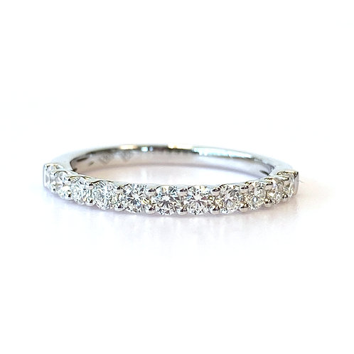 U-GALLERY STYLE STACKABLE BAND WITH 0.50CT ROUND DIAMOND IN 18KT WHITE GOLD