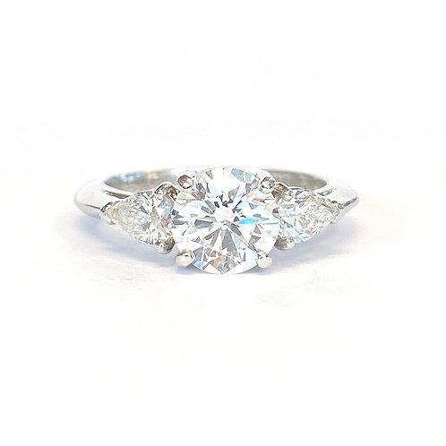 1.14CT. ROUND DIAMOND PLATINUM 3-STONE RING