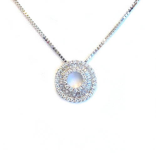 FASHION BAGUETTE & ROUND DIAMOND INFINITY CONCENTRIC CIRCLE HALO PENDANT