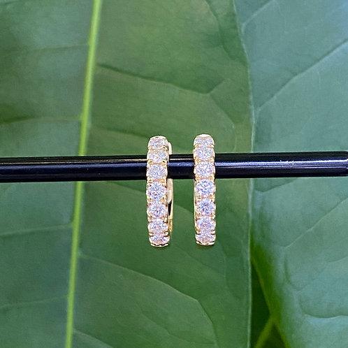0.55CT. YELLOW GOLD DIAMOND HOOP EARRINGS