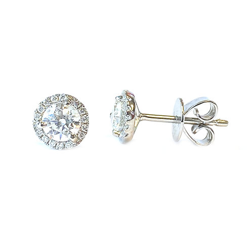 0.71CT. ROUND DIAMOND HALO STUD EARRINGS IN WHITE GOLD