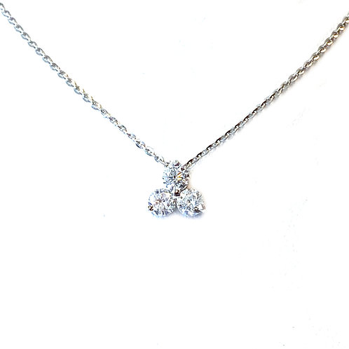 0.47CT. THREE STONE DIAMOND PENDANT NECKLACE