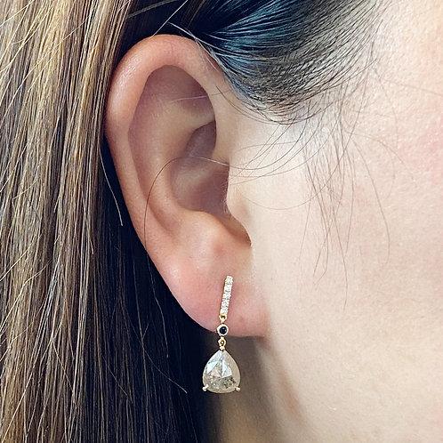 2.76CTTW. PEAR ROSE CUT DIAMOND DANGLE EARRINGS 18KTYG