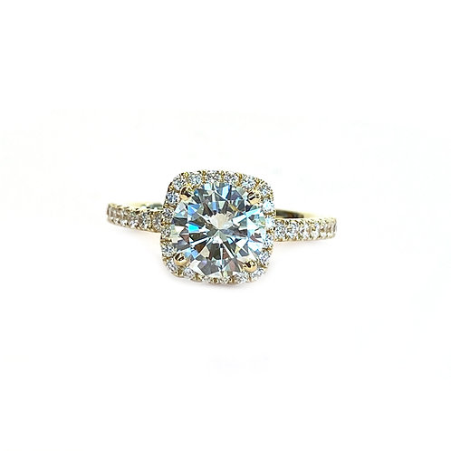 1.62CT. GIA ROUND DIAMOND SQUARE HALO ENGAGEMENT RING 18KTYG