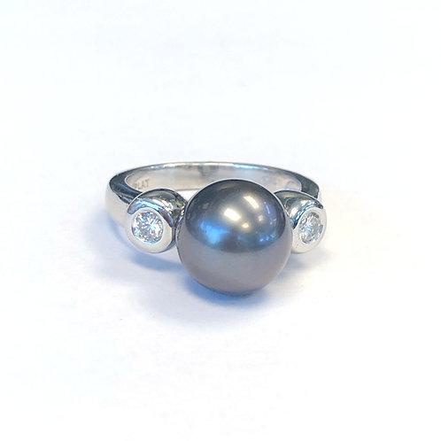 10.6MM TAHITIAN PEARL & DIAMOND PLATINUM RING