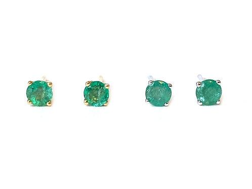 3.5MM 18KT GREEN EMERALD STUD EARRINGS