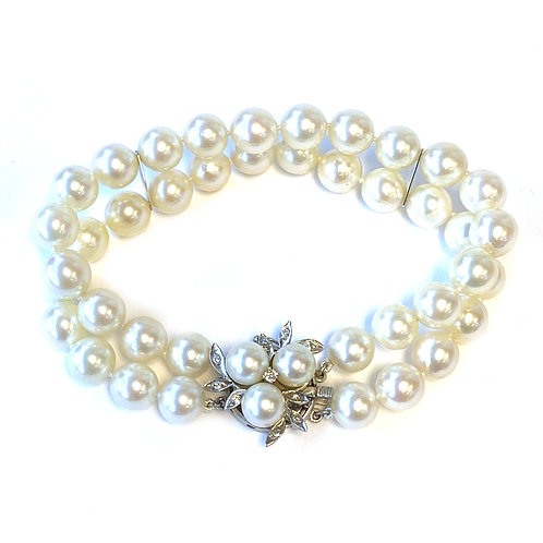 ESTATE PEARL & DIAMOND DOUBLE STRAND BRACELET