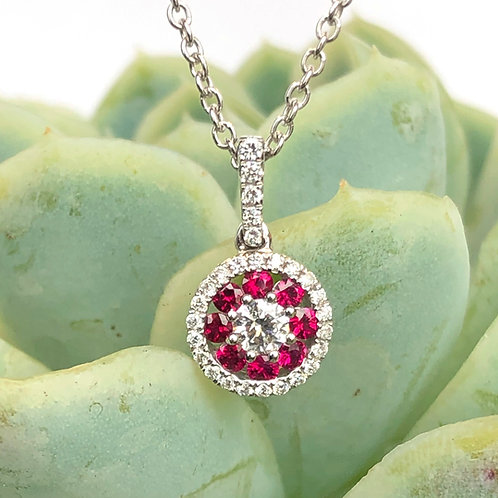 RUBY & DIAMOND CLUSTER HALO CIRCLE PENDANT