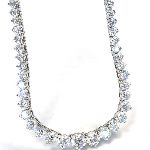 15.45CT. PLAT GRADUATED DIAMOND TENNIS NECKLACE