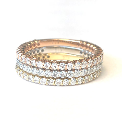 THREE BAND TRI COLOR DIAMOND BAND SET
