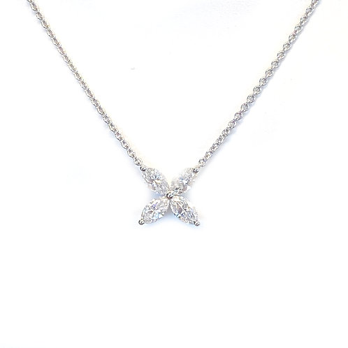 1.22CTTW. MARQUISE DIAMOND FLOWER NECKLACE 18KTWG
