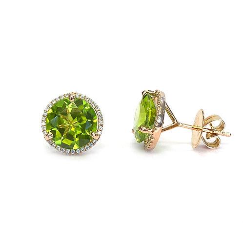 18KTRG 6.56CTTW. GREEN PERIDOT & DIAMOND HALO STUD EARRINGS