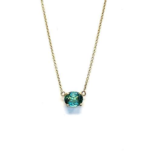 0.88CT. OVAL GREEN TOURMALINE PENDANT NECKLACE