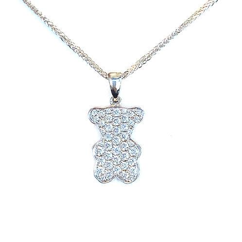 FASHION PAVE DIAMOND TEDDY BEAR PENDANT NECKLACE