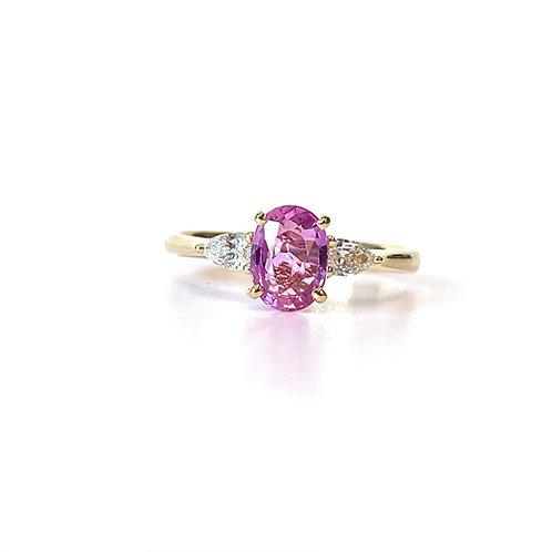 1.22CT. GIA NO-HEAT PURPLE-PINK SAPPHIRE & DIAMOND RING 18KTYG
