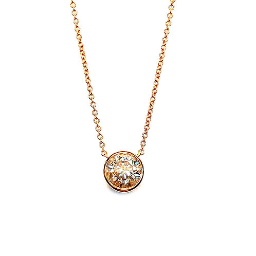 0.69CT. ROSE GOLD BEZEL STYLE PENDANT NECKLACE