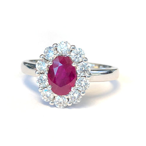 GORGEOUS DIAMOND HALO RUBY WHITE GOLD RING