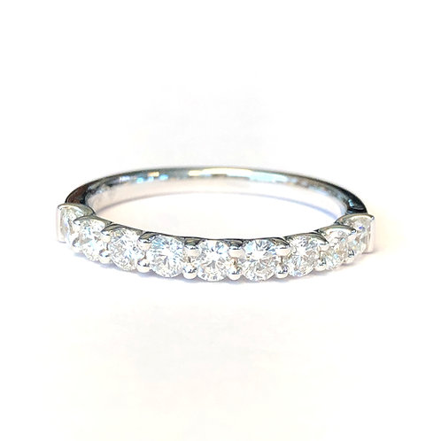 U-GALLERY STYLE STACKABLE BAND WITH 0.63CT ROUND DIAMOND IN 18KT WHITE GOLD