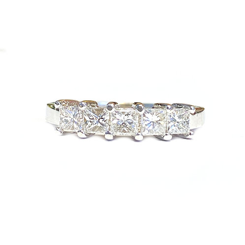 0.83CTTW. FIVE STONE PRINCESS CUT DIAMOND ANNIVERSARY BAND